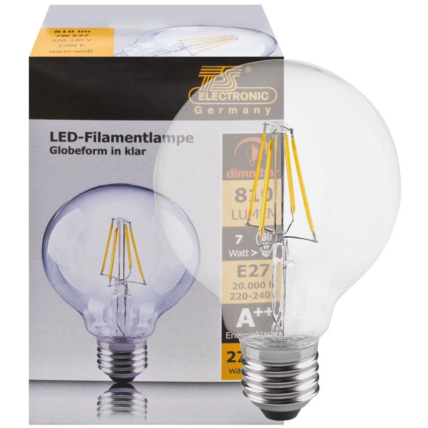 Heldere globe LED lamp 7W 810 lumen E27 2700K warm wit 115cm hoog dimbaar