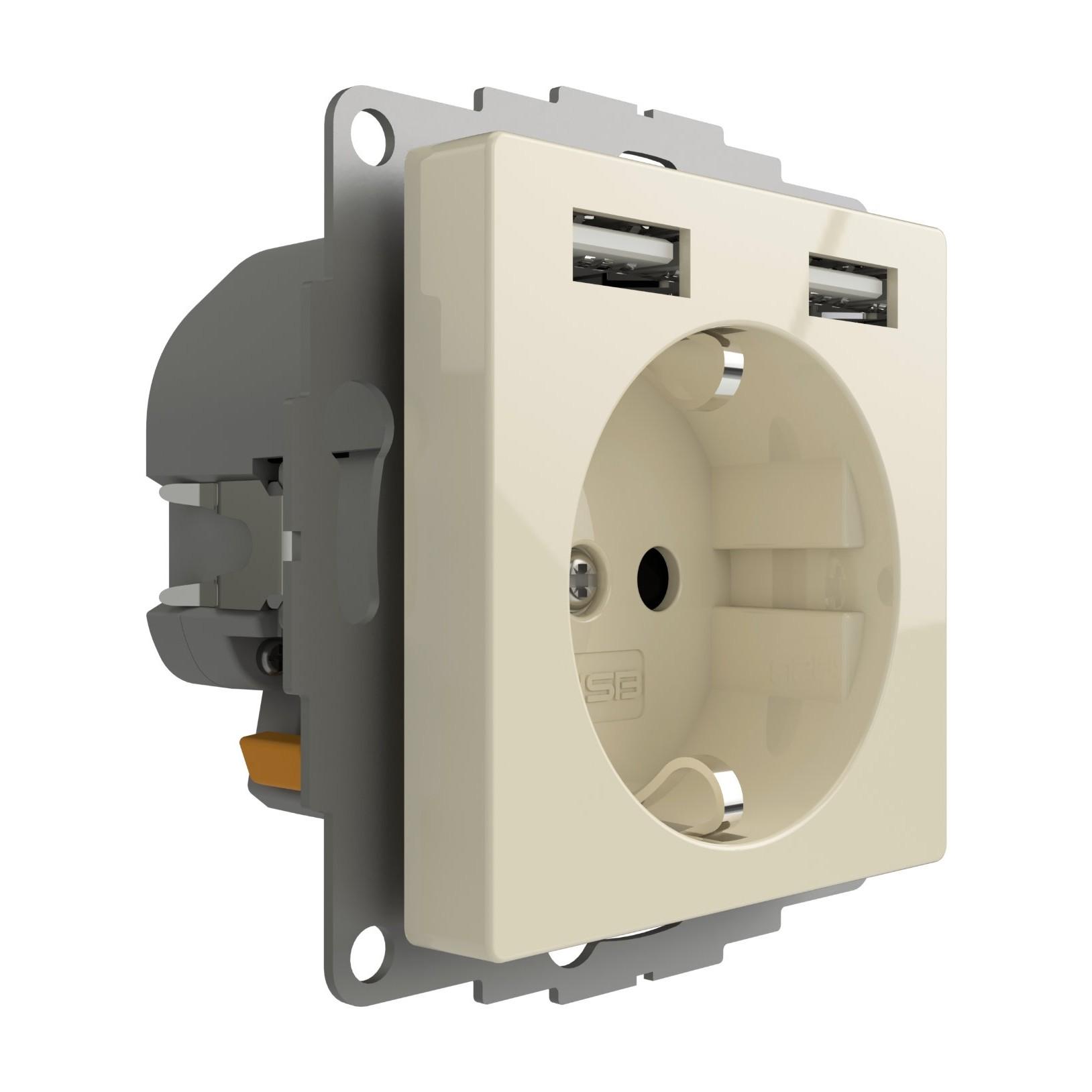 Stopcontact met USB poorten 2400mA crême glanzend voor een 40mm diepe doos
