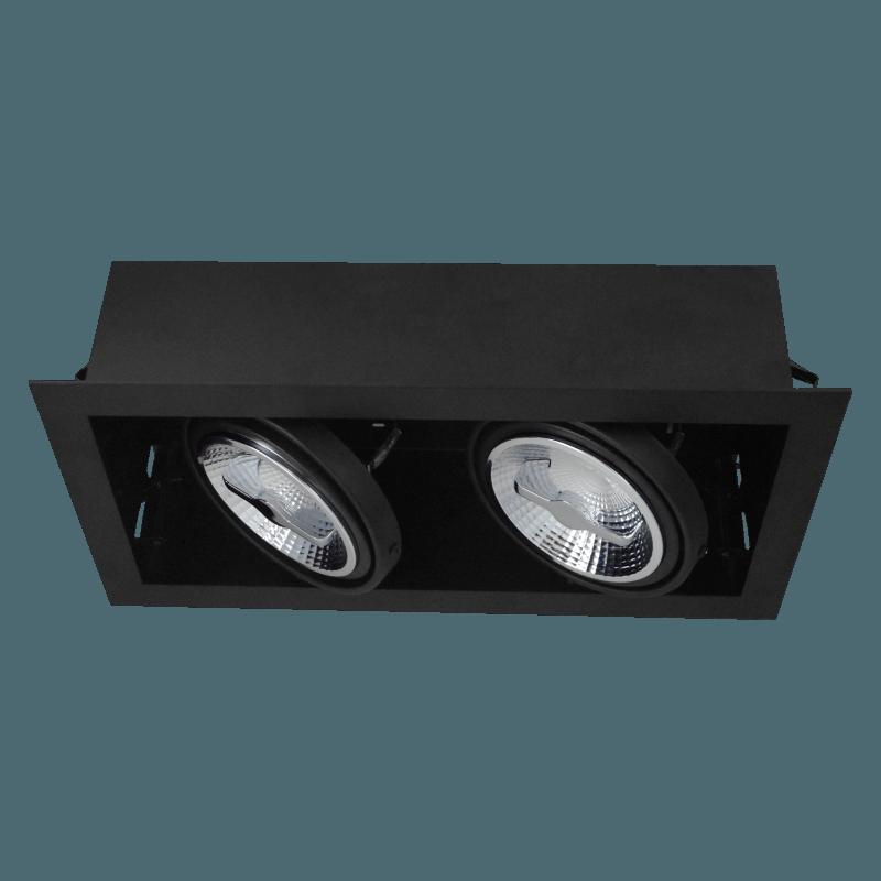 Zwart armatuur inbouw 2-voudig voor LED spot 2xAR111 draaibaar en kantelbaar, wordt met zichtbare rand in het stucwerk gemonteerd