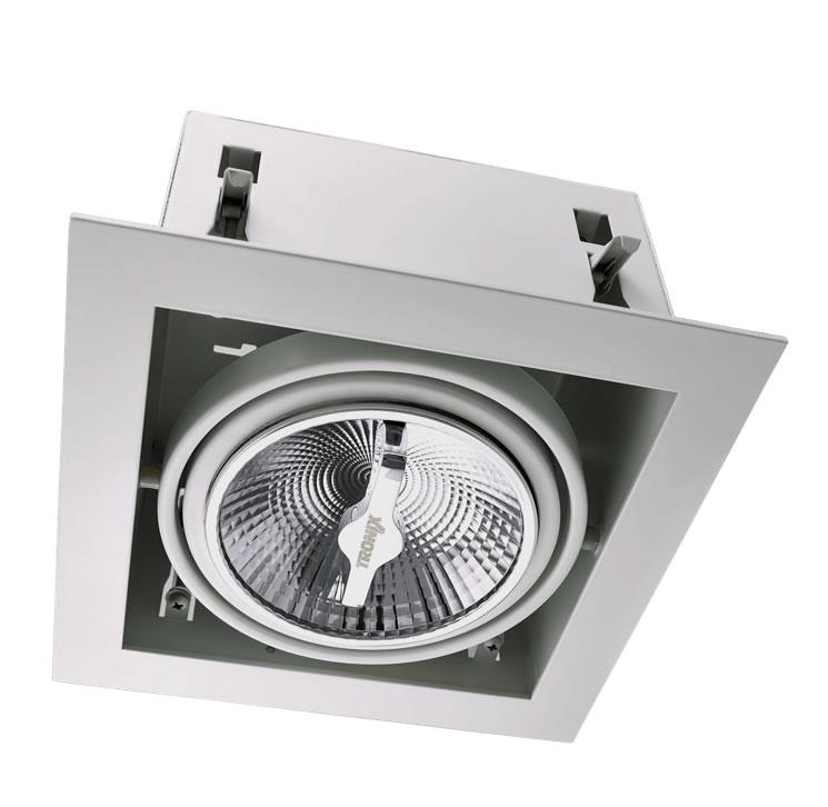 Wit trimless armatuur inbouw voor AR111 LED spot draaibaar en kantelbaar wordt