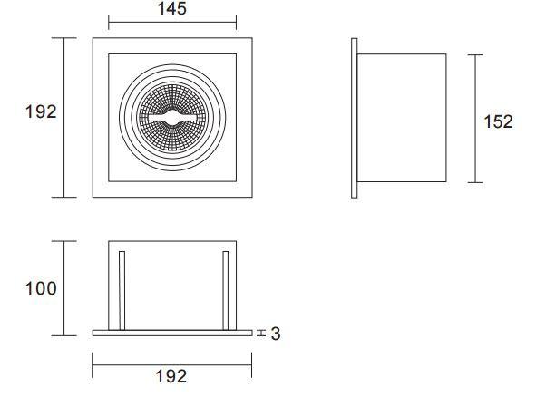 Zwart trimless armatuur inbouw voor AR111 LED spot draaibaar en kantelbaar word