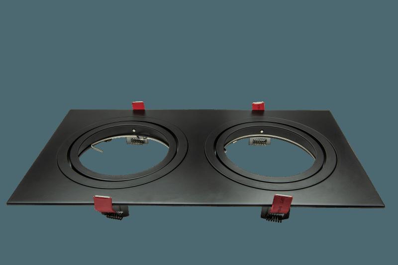 AR111 armatuur, 2 voudig rechthoekig zwart 180mm 355mm 148-038 Tronix