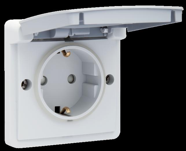 Niko Hydro waterdicht stopcontact enkel met randaarde grijs