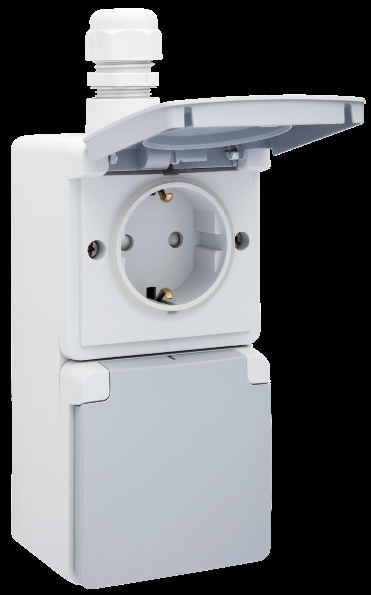 Niko Hydro stopcontact 2 voudig waterdicht grijs