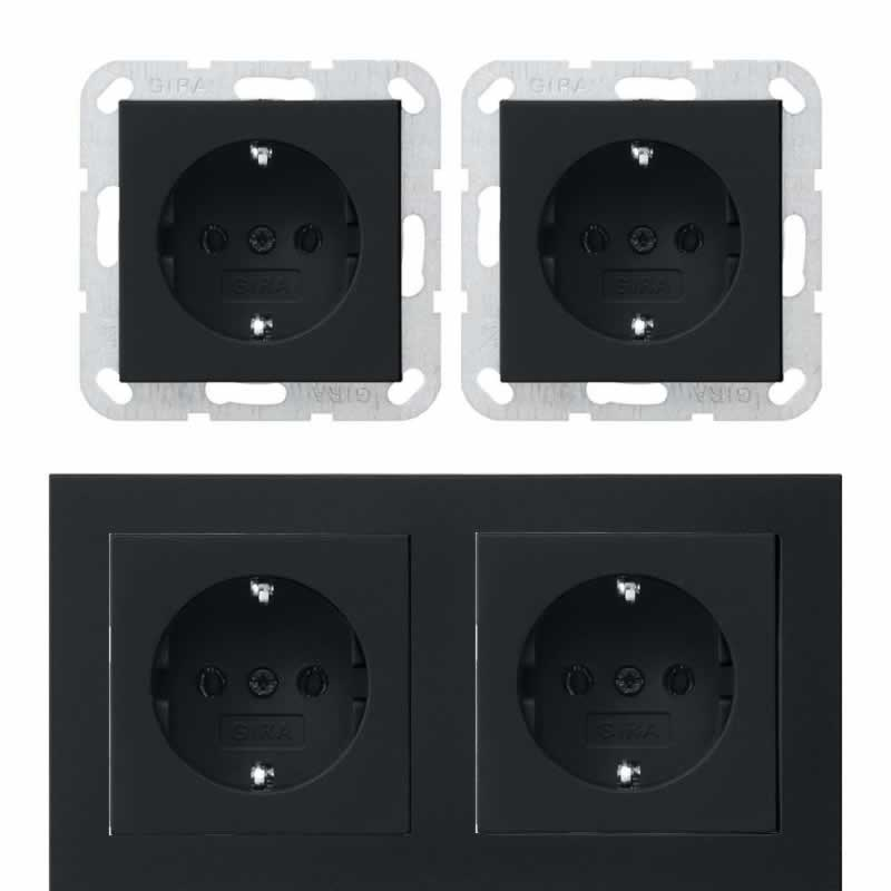 Dubbel stopcontact zwart E2 met dubbel afdekraam inbouw