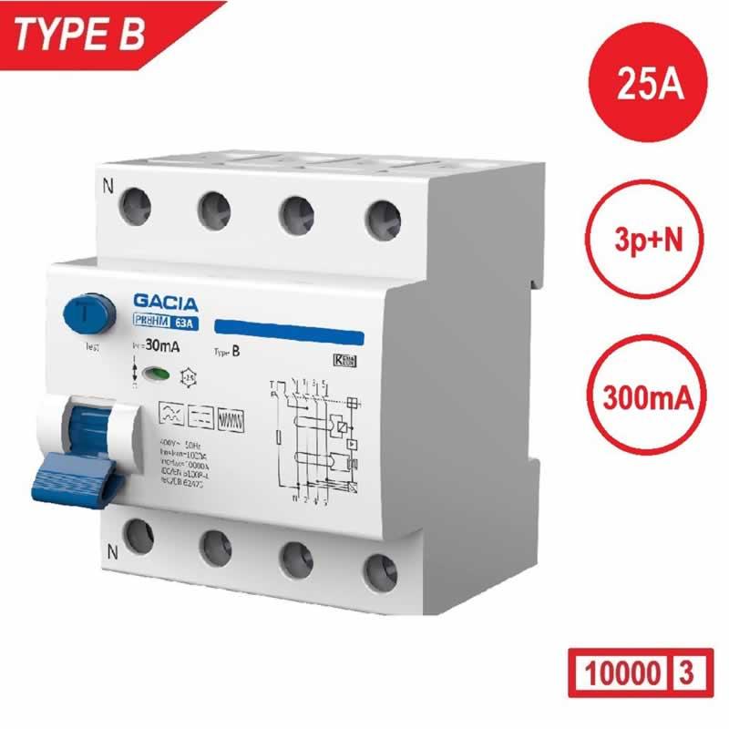 Aardlekschakelaar 3p+N 25A 300mA Type B 10 kA Gacia zonnepanelen en laadpalen 400V