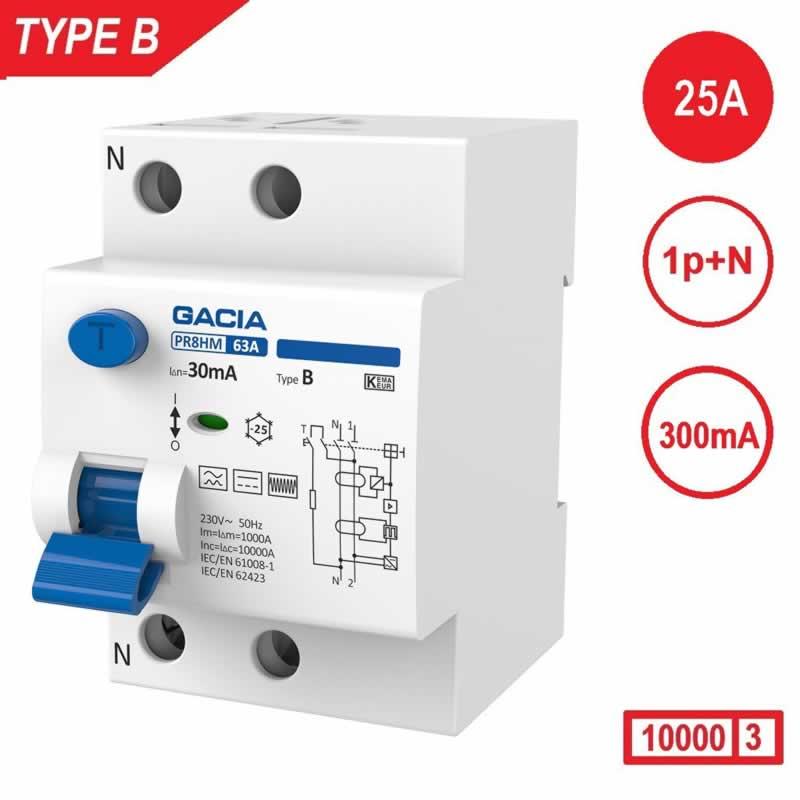 Aardlekschakelaar 1p+N 25A 300mA Type B 10 kA Gacia zonnepanelen en laadpalen 230V