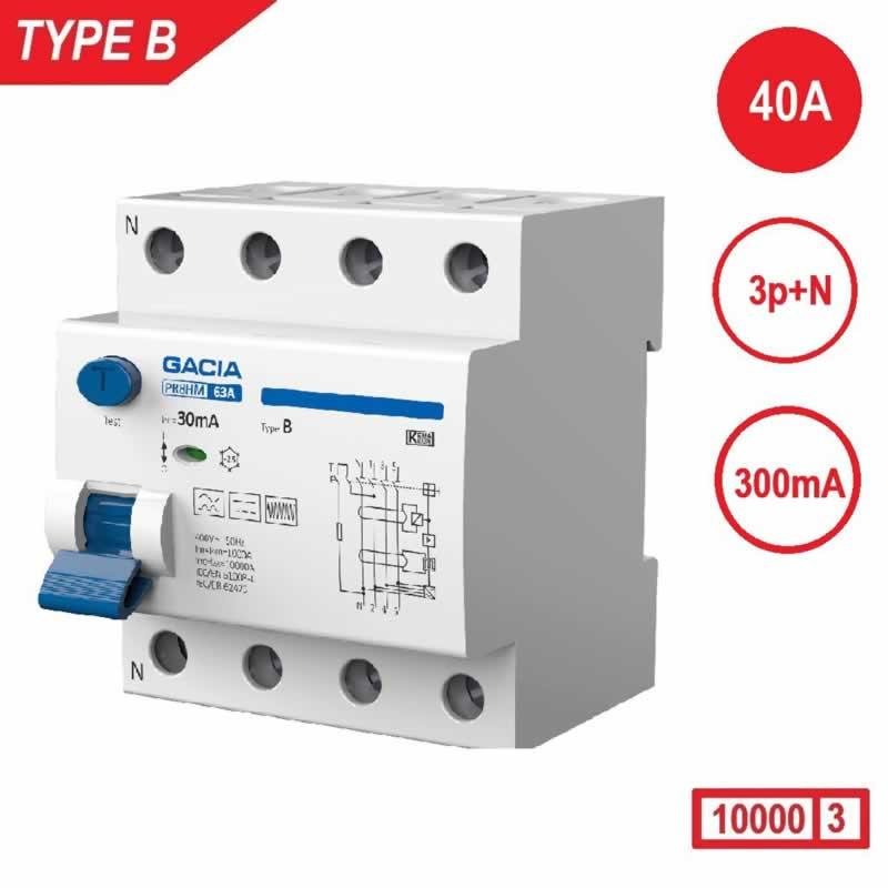 Aardlekschakelaar 3p+N 40A 300mA Type B 10 kA Gacia zonnepanelen en laadpalen 400V