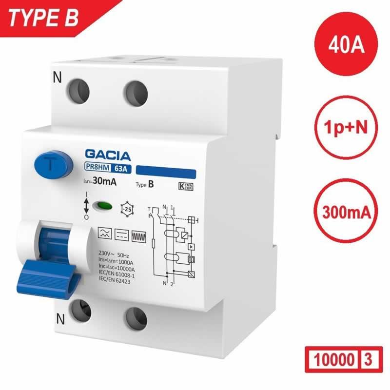 Aardlekschakelaar 1p+N 40A 300mA Type B 10 kA Gacia zonnepanelen en laadpalen 230V