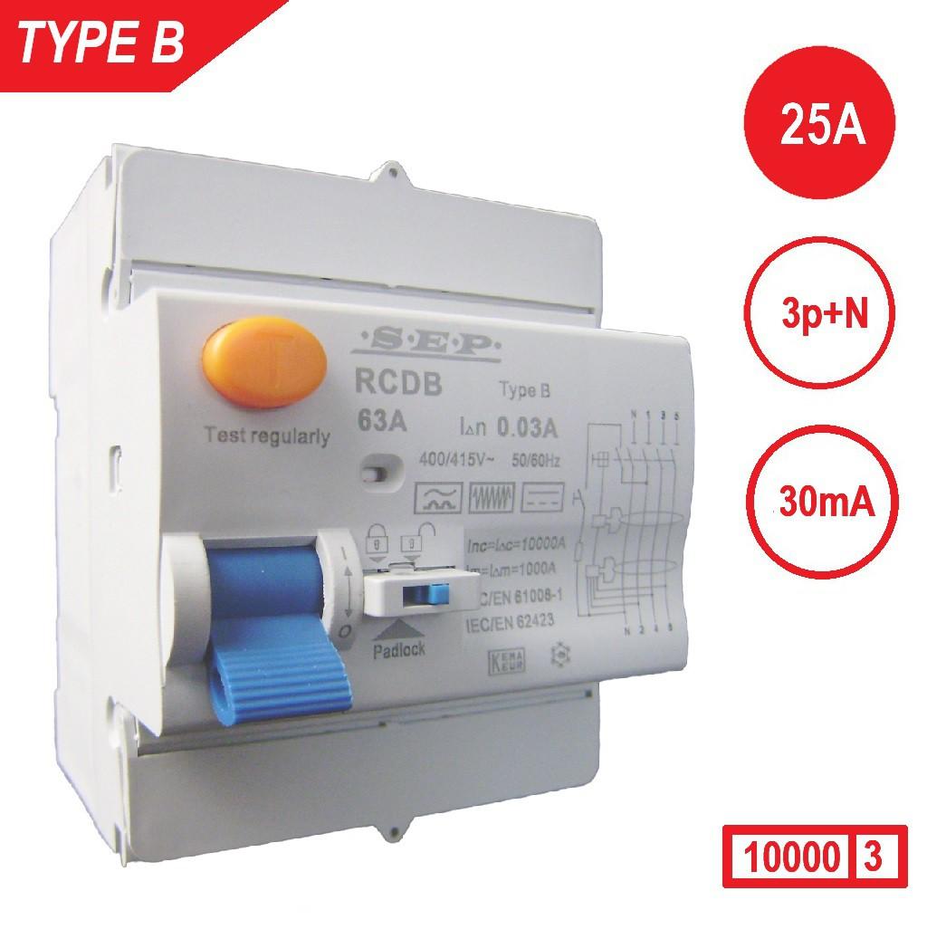 Aardlekschakelaar 3p+N 25A 30mA Type B 10 kA SEP RCD-B4025