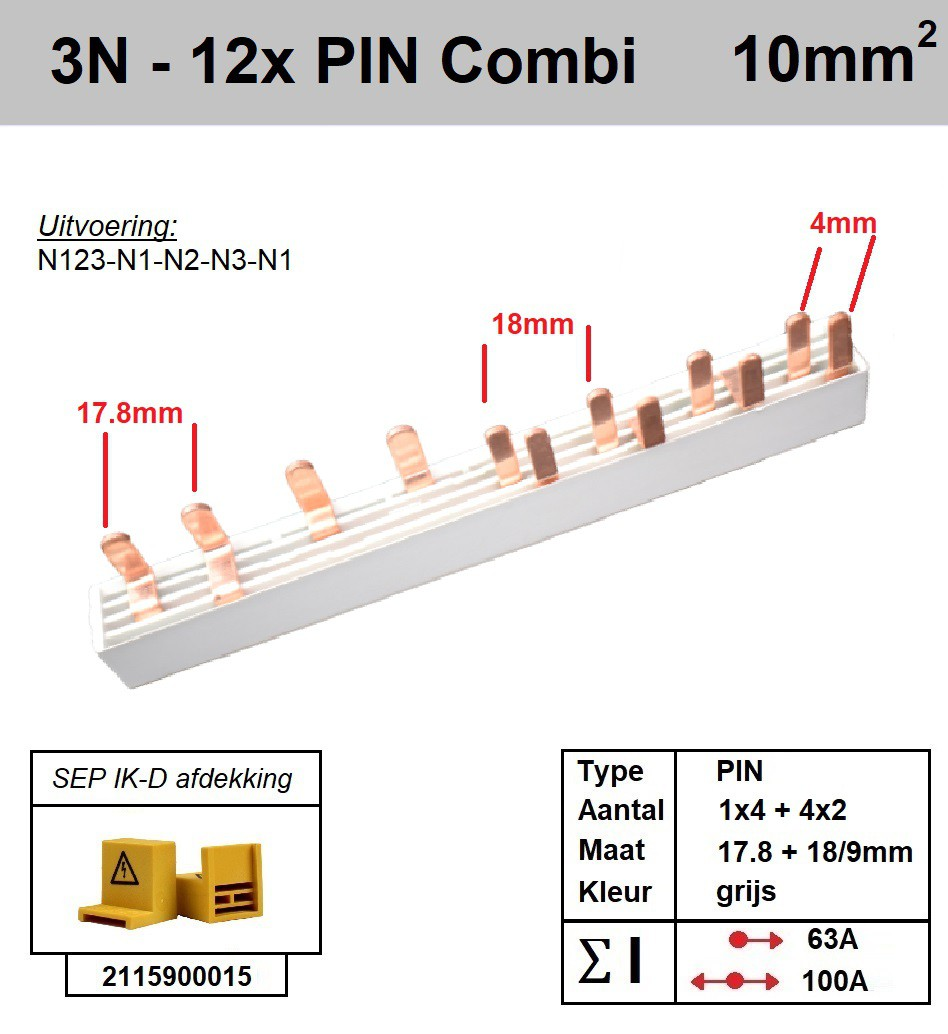 SEP Verdeelkam 3f+n pin 12 mod 2x18mm 8x9mm grijs P14012G20