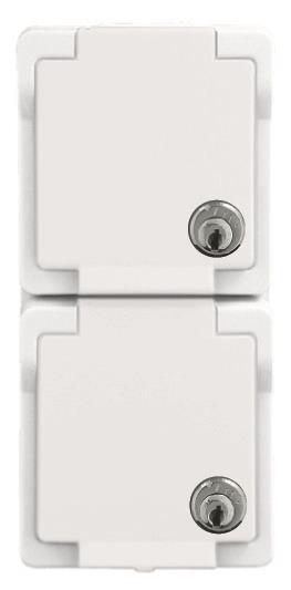 Twee witte, waterdichte stopcontacten verticaal voor buiten met slot afsluitbaar van Presto Vedder