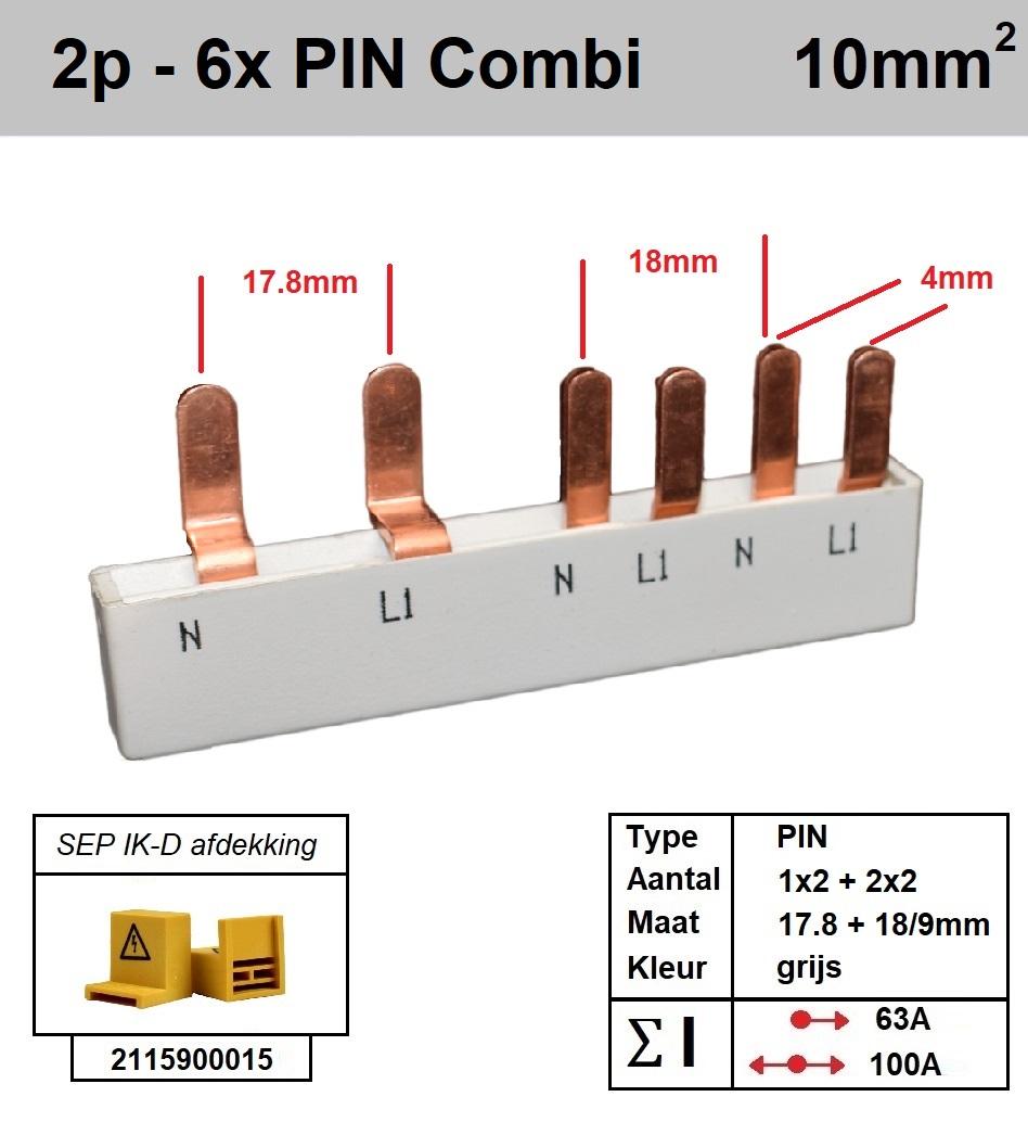 SEP Verdeelkam 2f pin 4 mod 2x18mm 4x9mm grijs P12006G20