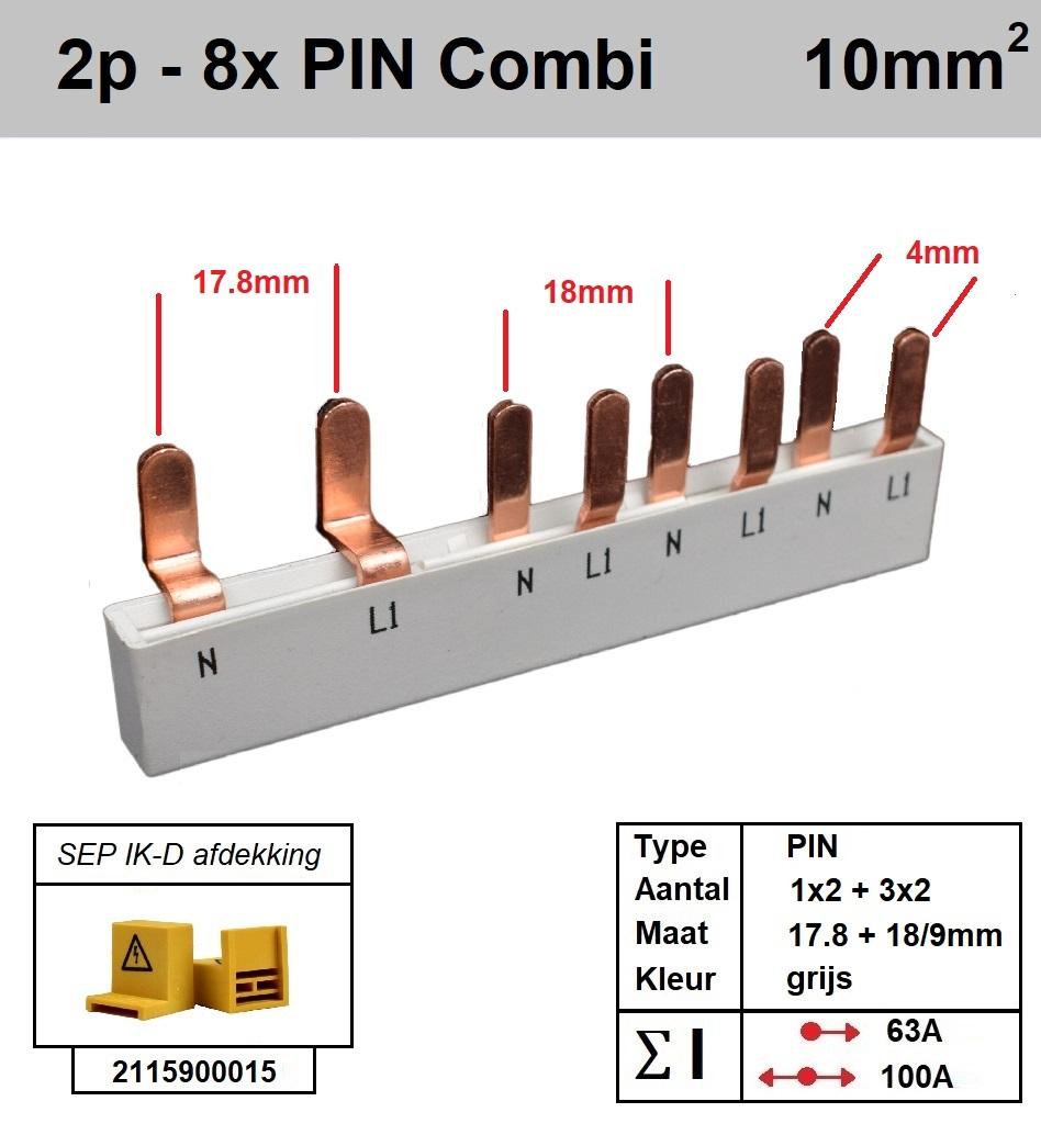 SEP Verdeelkam 2f pin 5 mod 2x18mm 6x9mm grijs P12008G20