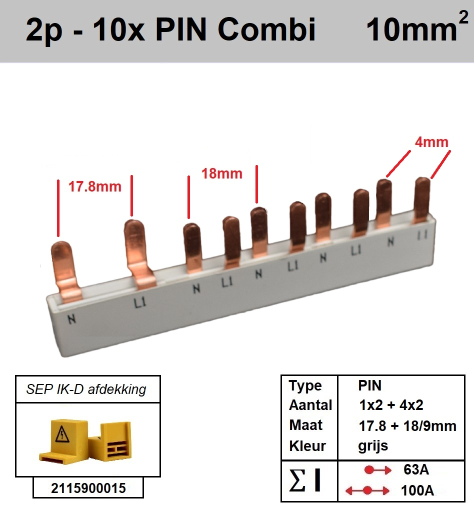 SEP Verdeelkam 2f pin 6 mod 2x18mm 8x9mm grijs P12010G20