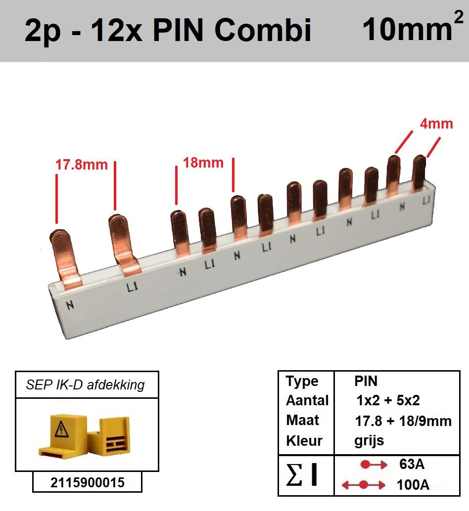 SEP Verdeelkam 2f pin 7 mod 2x18mm 10x9mm grijs P12012G20