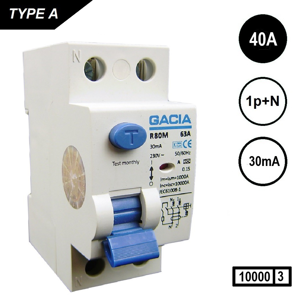 GACIA aardlekschakelaar 4020 Als 2p 40Amp 30mA 10kA