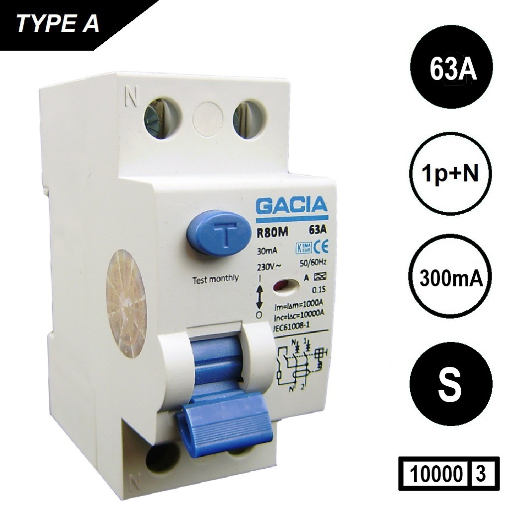 GACIA aardlekschakelaar 6323S 2p 63Amp 300mA [S] 10kA