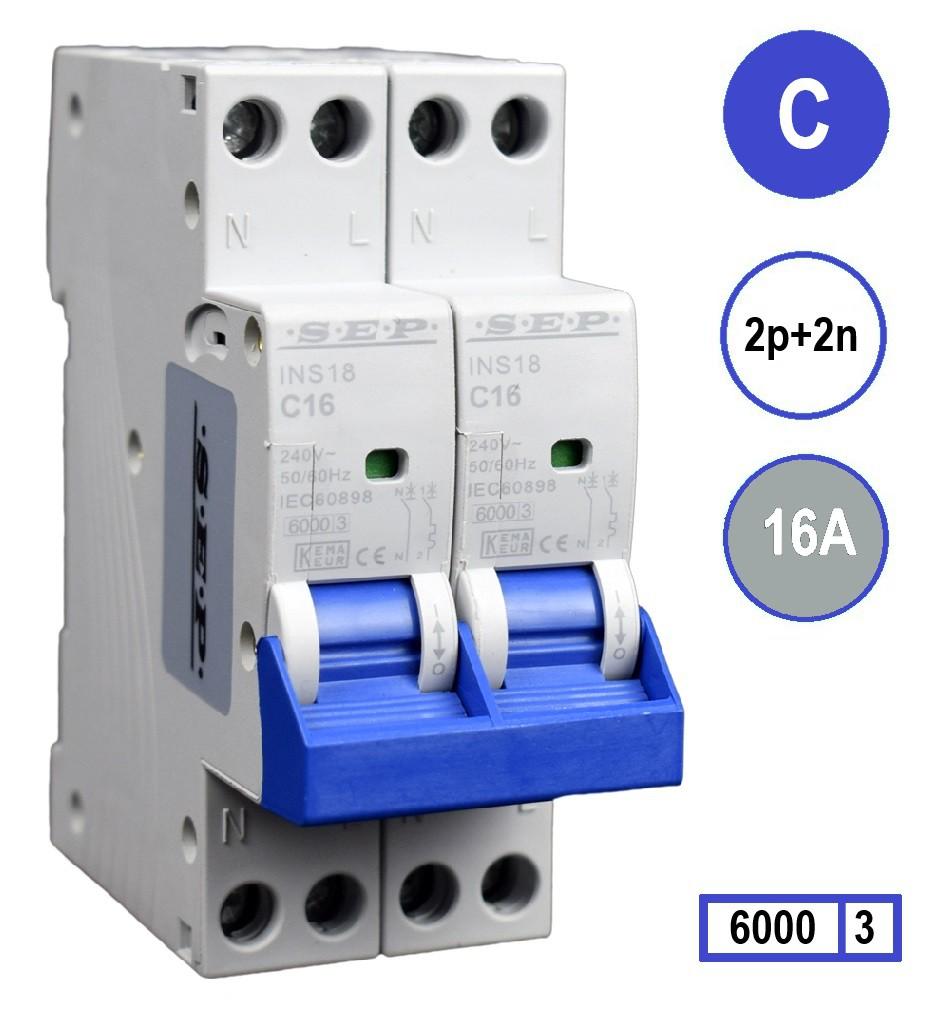 SEP Installatie automaat C16 2polig+n 6kA 36mm breed kookgroep 2x230V voor elektrische kookplaat