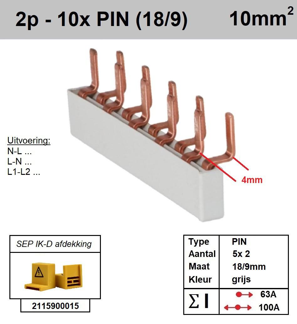 SEP Verdeelkam 2f pin 10 mod 9-18mm grijs P02010G20