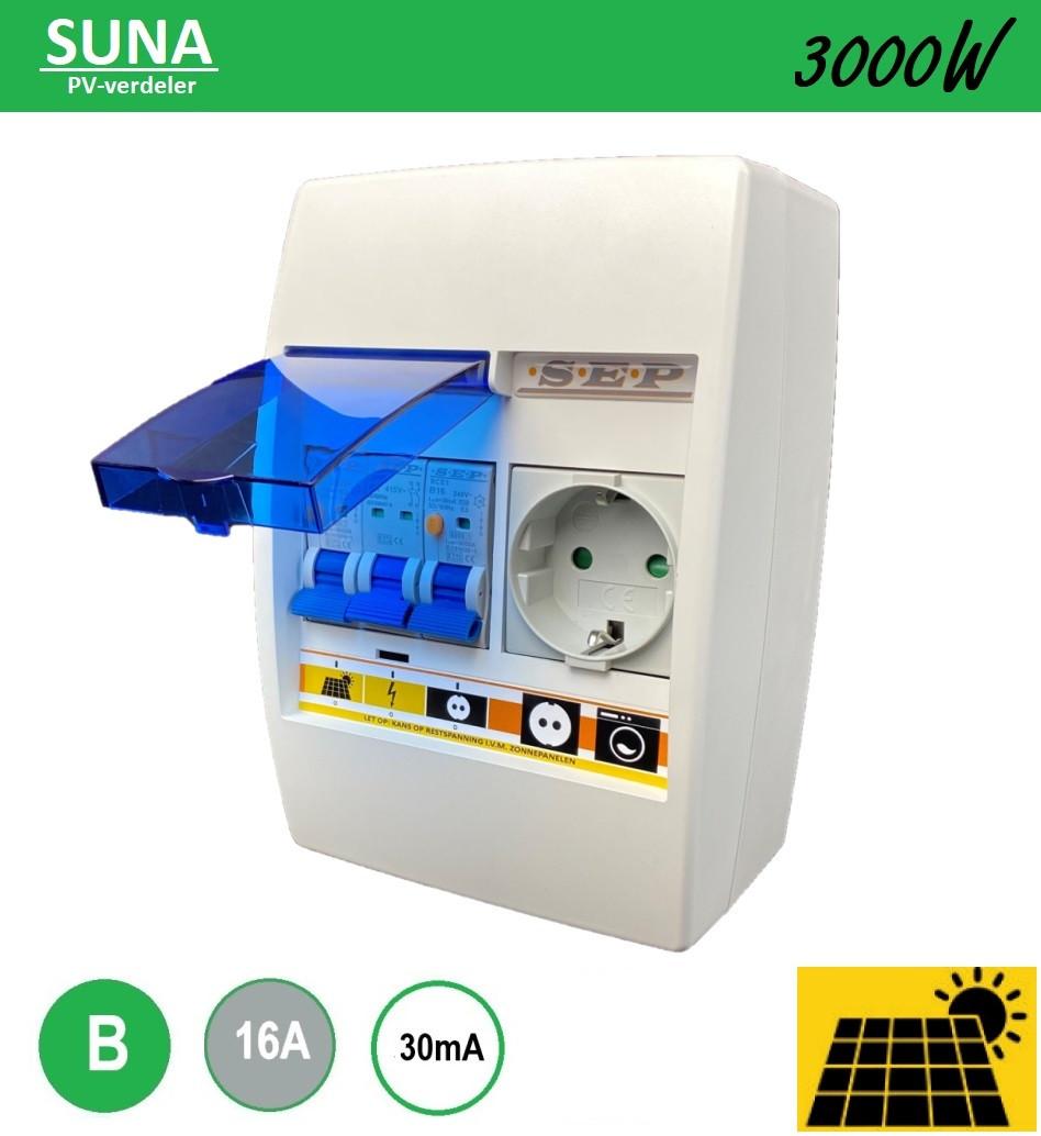 Zonnepanelen verdeler Suna 3000W alamat B16 met stopcontact montage op bestaande inbouwdoos