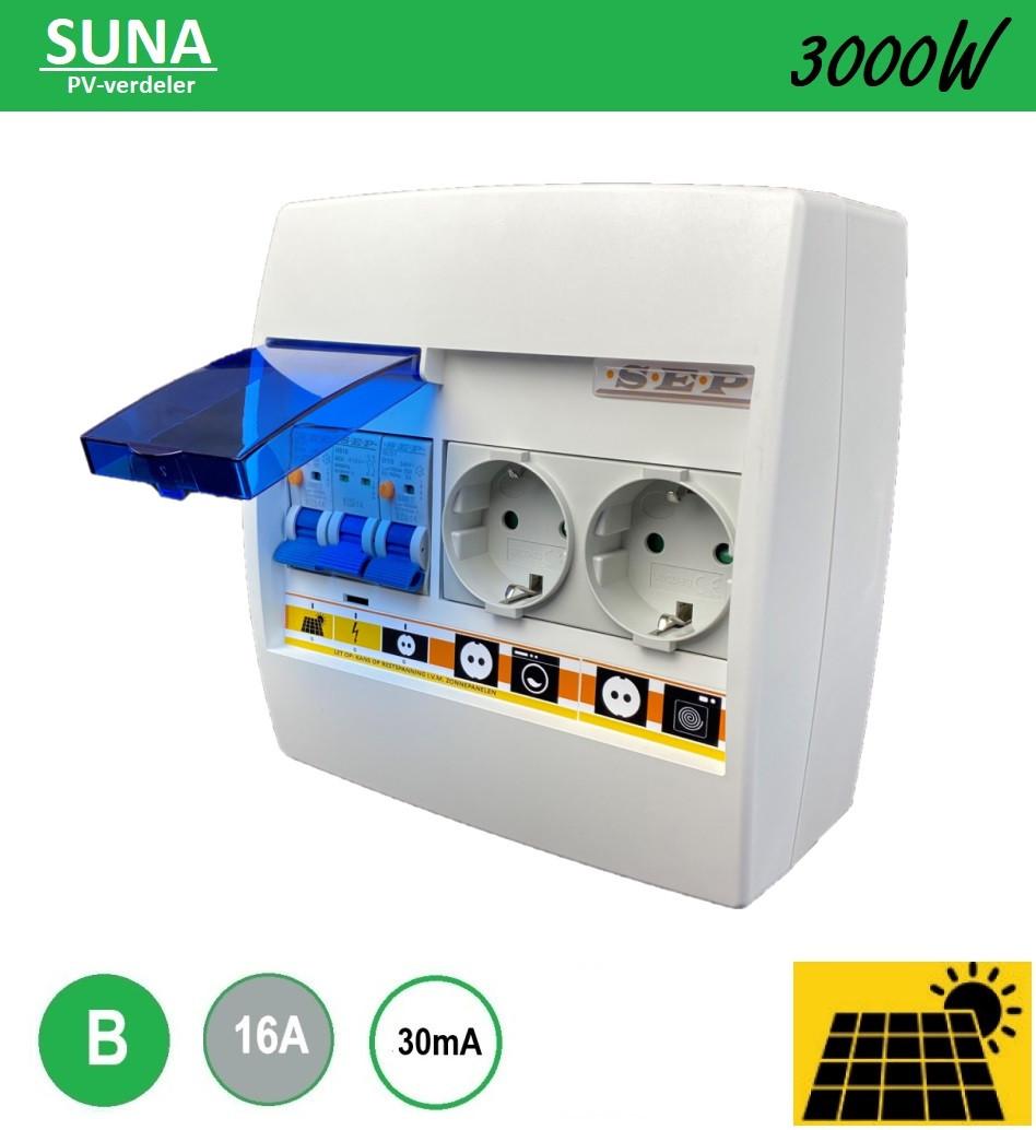 SEP PV verdeler Suna 3000W alamat B16 met 2 stopcontact montage op inbouwdoos zonnepanelen