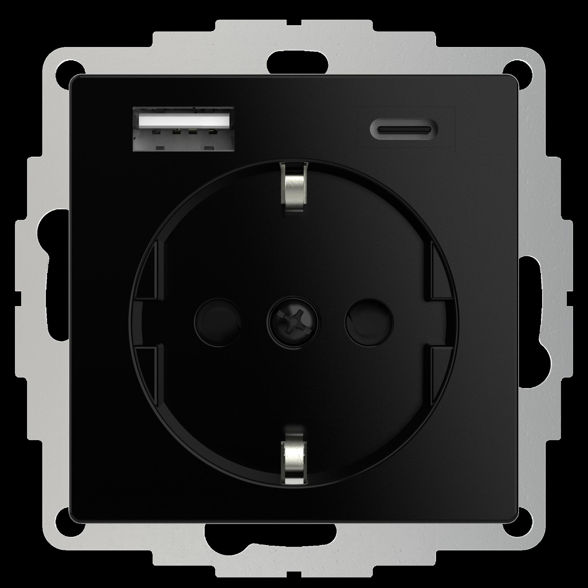 2USB 2U-449559 Geaard stopcontact Met USB-laaduitgang, Kinderbeveiliging, VDE IP20 Zwart