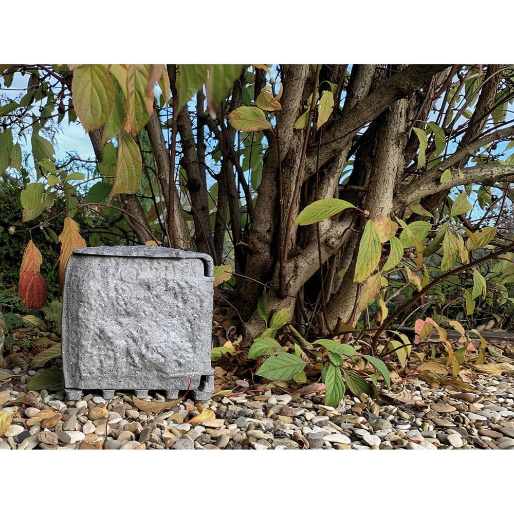 Buitenstopcontact grijze steen kleur kunsthars 4 stopcontacten 3 meter snoer met stekker en pin